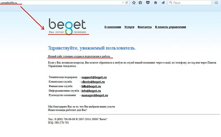 установка wordpress на хостинг beget