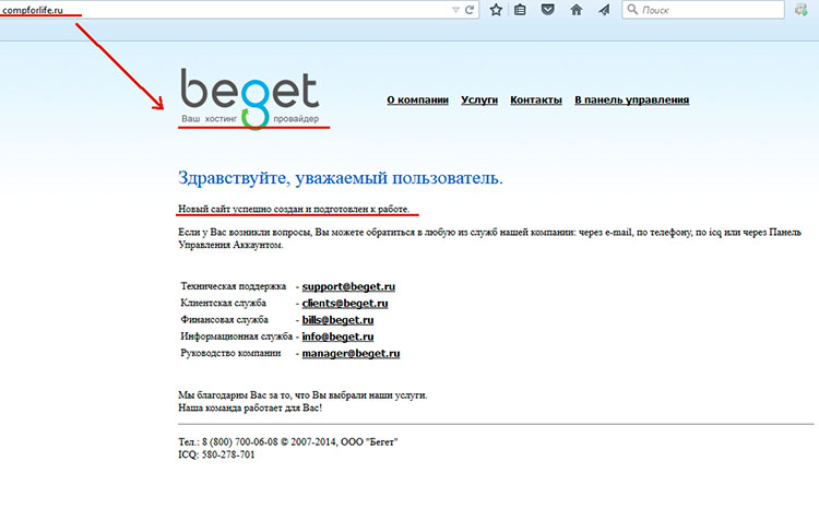 установка wordpress на хостинг beget